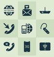 communication icons set with network vector image vector image