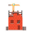 construction of a brick house vector image vector image