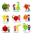cute little kids having fun and hugging giant vector image vector image