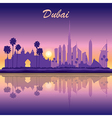 Dubai skyline silhouette on sunset background vector image vector image