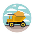 dump truck in circular frame with cloud landscape vector image vector image