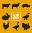 farm animals silhouettes collection isolated vector image