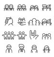 friendship friend icon set in thin line style vector image