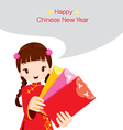 Girl Holding Envelopes vector image