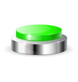 green push button with metal frame vector image vector image