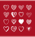 hand drawn heart background valentines day vector image vector image