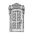 Hand drawn vintage door Sketch vector image