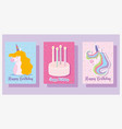 happy birthday cute unicorns cake and candles vector image