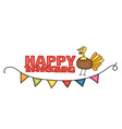 Happy Thanksgiving Day banner sign with a turkey vector image vector image