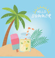 hello summer poster with seascape scene icons vector image