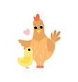 hen mother and its hicken cute farm birds family vector image