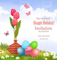invitation card with vase of tulips and colorful vector image vector image