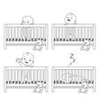 little baby in crib vector image