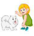 little girl and kind dog vector image