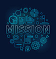 mission round blue business outline vector image vector image