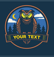 nocturnal owl badge design vector image vector image