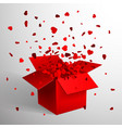 open red gift box and heart confetti christmas vector image vector image