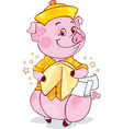 pig with fortune cookie for the new year 2019 vector image vector image
