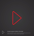 play outline symbol red on dark background logo vector image vector image