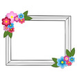 rectangular photo frame colorful flowers isolated vector image
