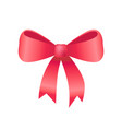 red bow made of silk tape icon vector image
