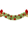 seamless christmas garland with decorations vector image vector image