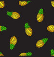 seamless pattern pineapples on black background vector image vector image