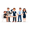 set of cheerful business people cartoon characters vector image