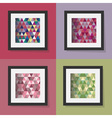 set of colorful triangle patterns in frames vector image vector image