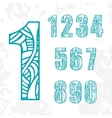 Set of doodle numbers with abstract pattern vector image