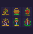 set of neon icons for barbecue vector image vector image
