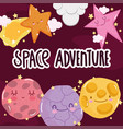 space adventure galaxy planets sun star and clouds vector image vector image