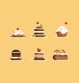 sweet cake desserts set vector image vector image