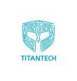 titan mask with fingerprint shape for tech company vector image vector image