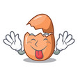 tongue out broken egg isolated on the mascot vector image