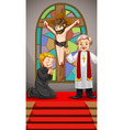 Two priests praying at church vector image