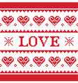 Valentines Day love knitted pattern card vector image vector image