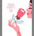 womens day card beautiful woman pink flower vector image vector image