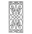 wrought-iron grill oblong panel is a 17th century vector image vector image
