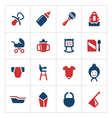Set color icons of newborn baby vector image
