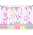 Birthday card with gift boxes vector image