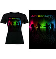 black t-shirt with abstract colorful sound wave vector image vector image