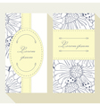 Business card set with outline ladybug and daisy vector image