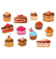 Cakes cupcakes pies pudding and desserts vector image vector image