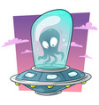 cartoon cute alien monster in ufo spaceship vector image