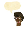 cartoon man with tongue hanging out with speech vector image