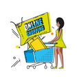 character woman with shopping online icons vector image
