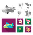 children toy monochromeflat icons in set vector image vector image
