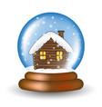 christmas snowglobe with cabin cartoon design vector image