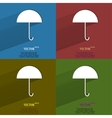 Color set Umbrella Flat modern web button with vector image